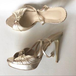Shoes - Gold all leather platform sandals shoes heels 38